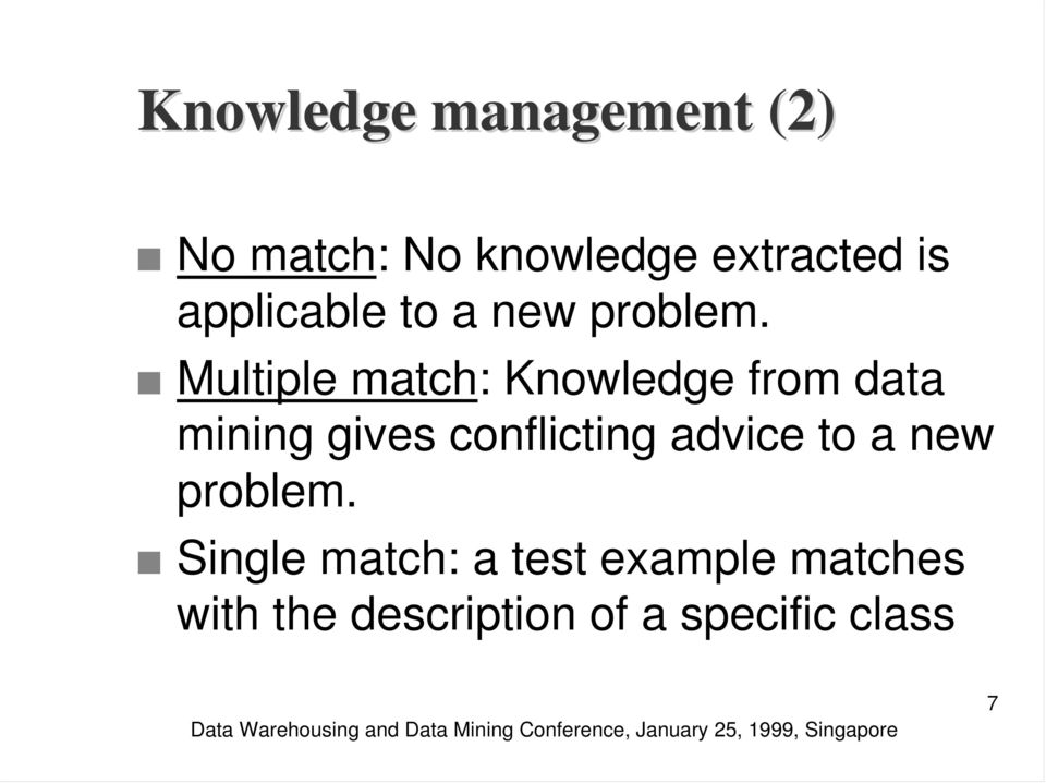 Multiple match: Knowledge from data mining gives conflicting