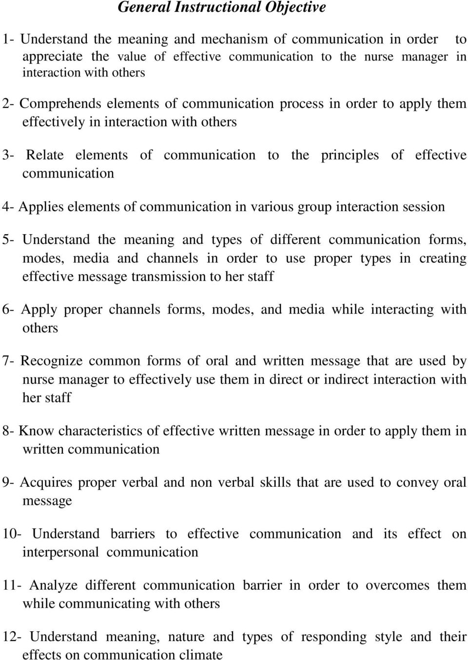 elements of communication in various group interaction session 5- Understand the meaning and types of different communication forms, modes, media and channels in order to use proper types in creating