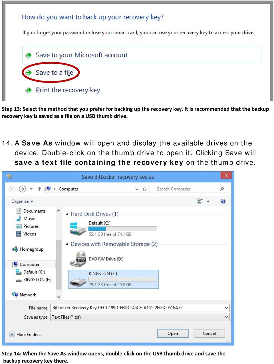 A Save As window will open and display the available drives on the device. Double-click on the thumb drive to open it.