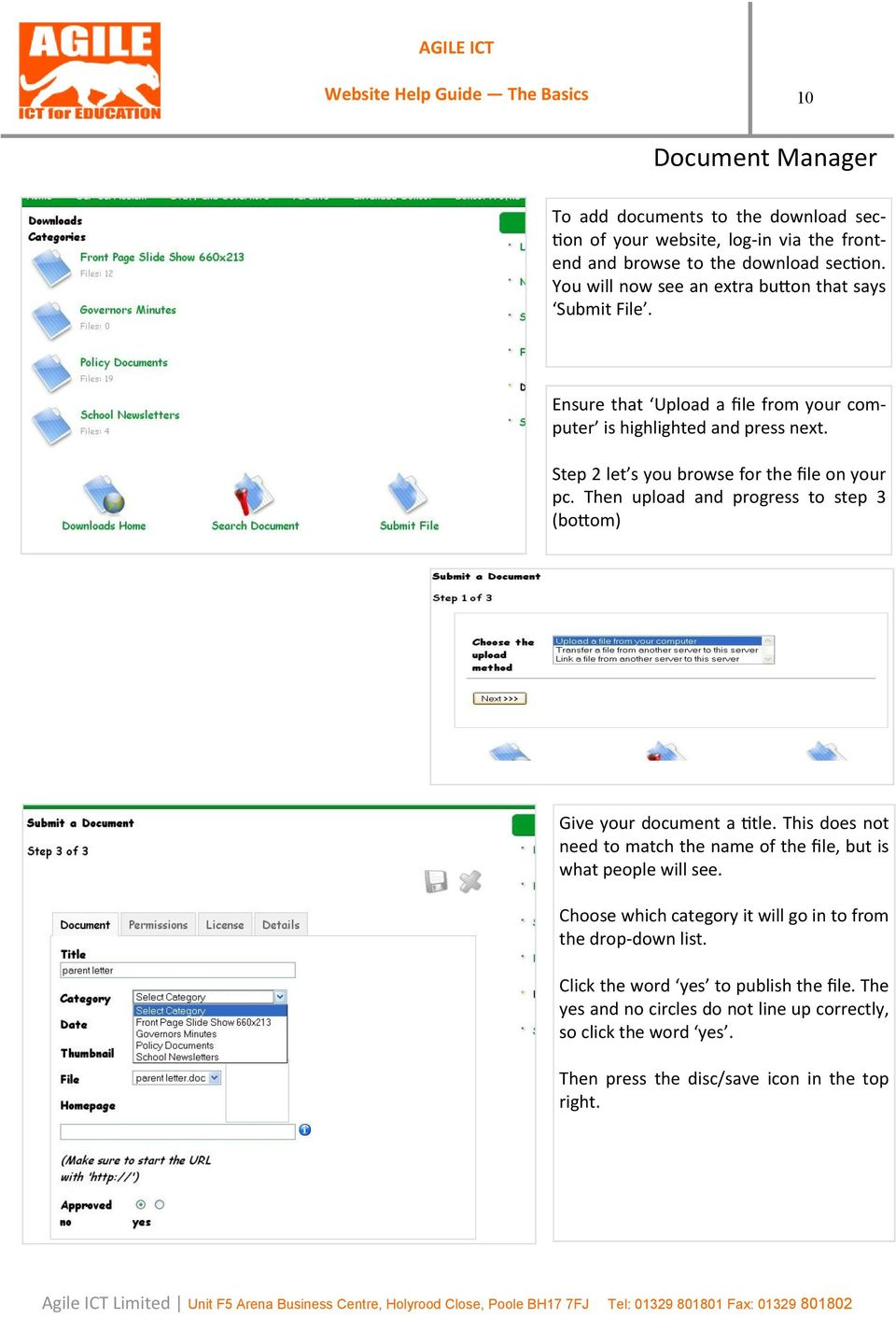 Step 2 let s you browse for the file on your pc. Then upload and progress to step 3 (bottom) Give your document a title.