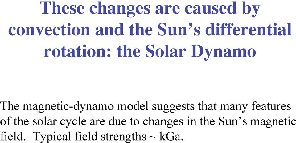 model suggests that many features of the solar cycle are due
