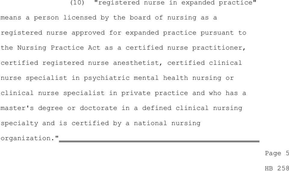 certified clinical nurse specialist in psychiatric mental health nursing or clinical nurse specialist in private practice and who