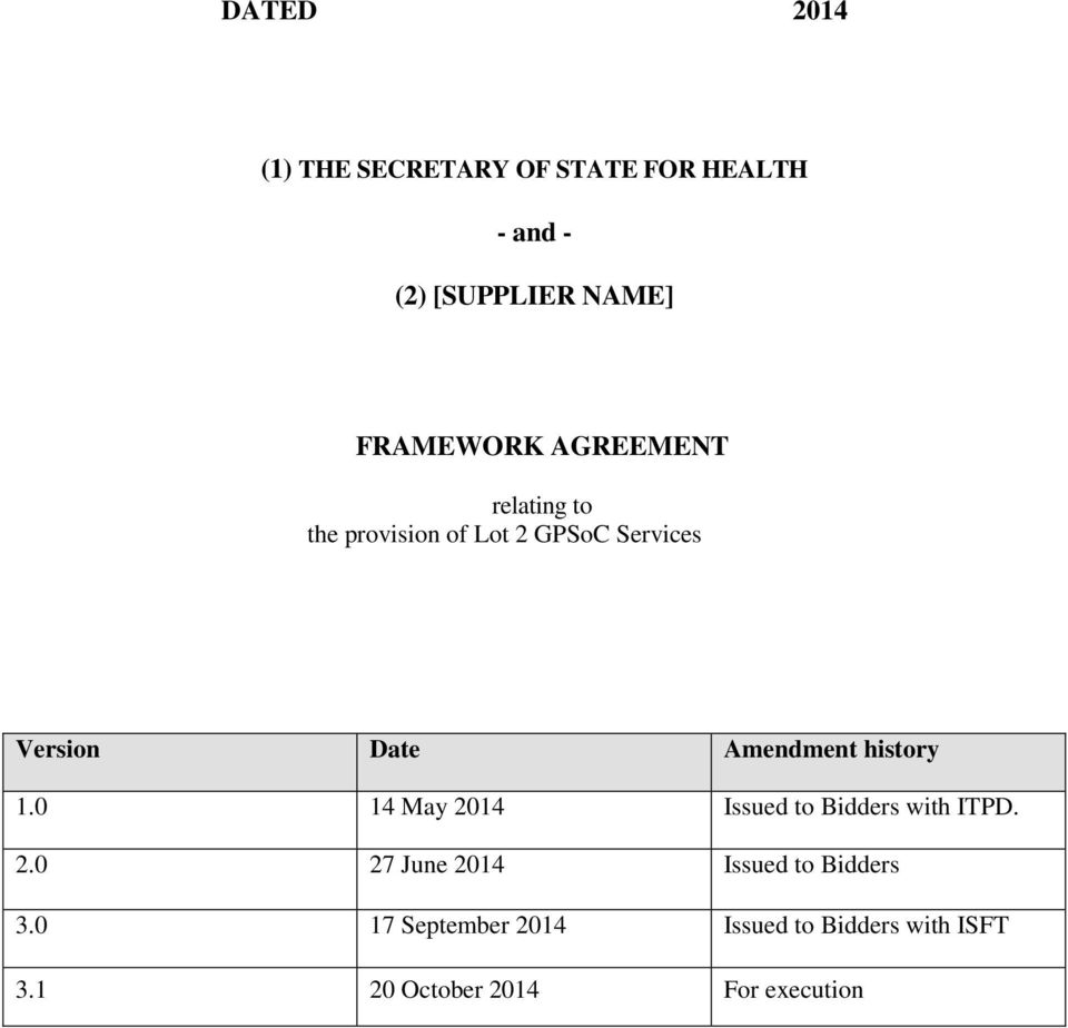 Amendment history 1.0 14 May 2014 Issued to Bidders with ITPD. 2.0 27 June 2014 Issued to Bidders 3.