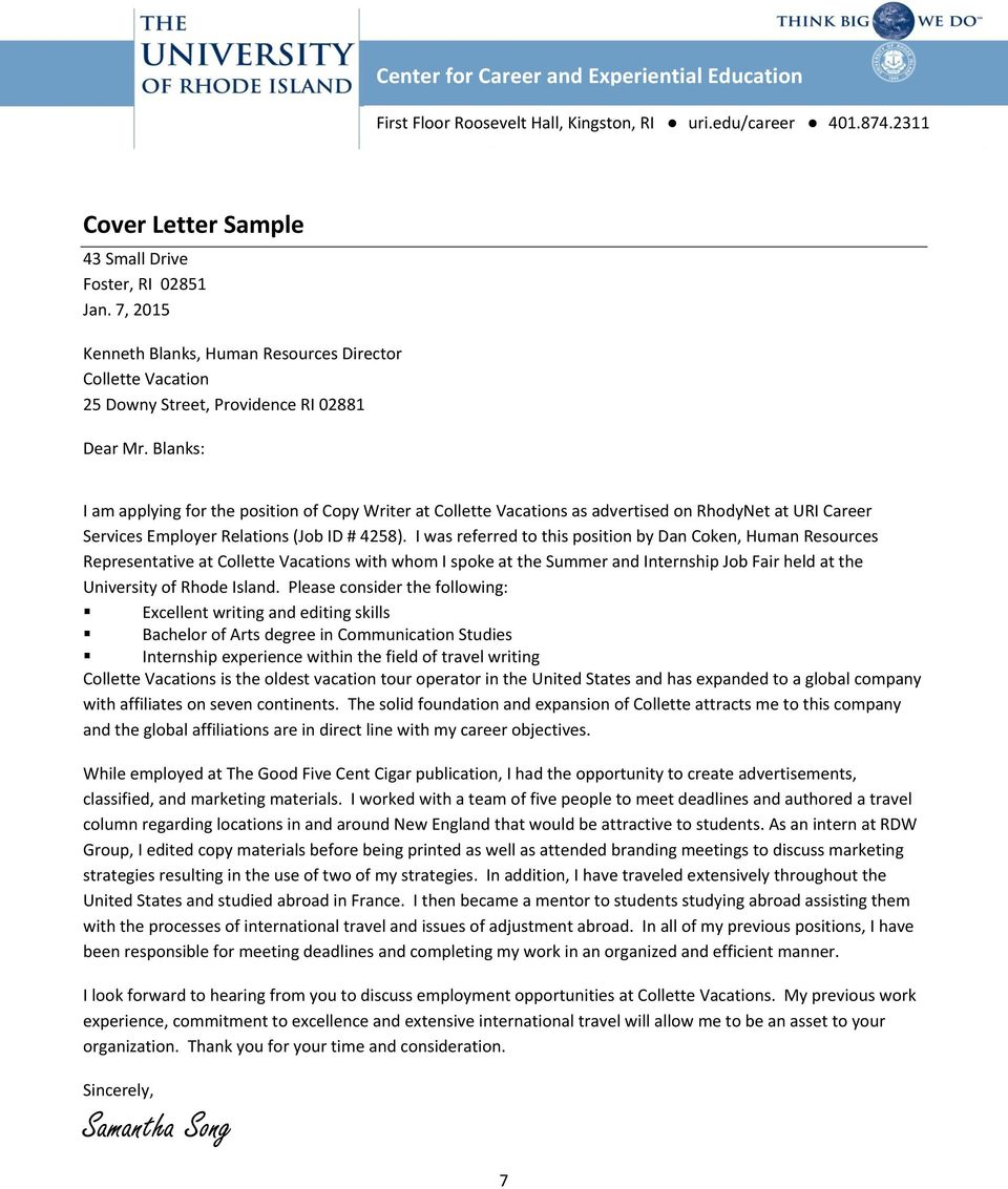Cover Letter Guide. Center for Career and Experiential ...