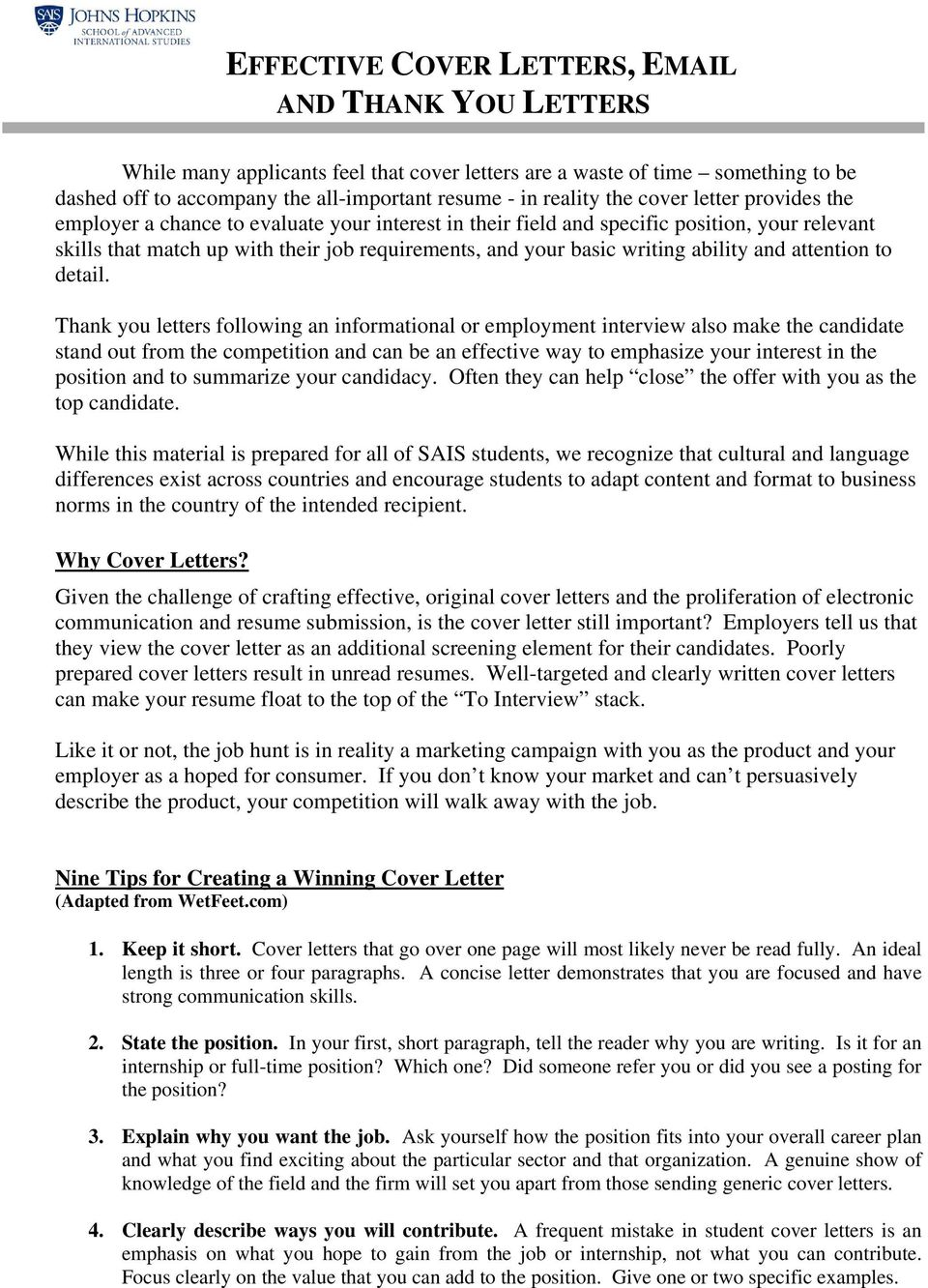 EFFECTIVE COVER LETTERS, - PDF Free Download