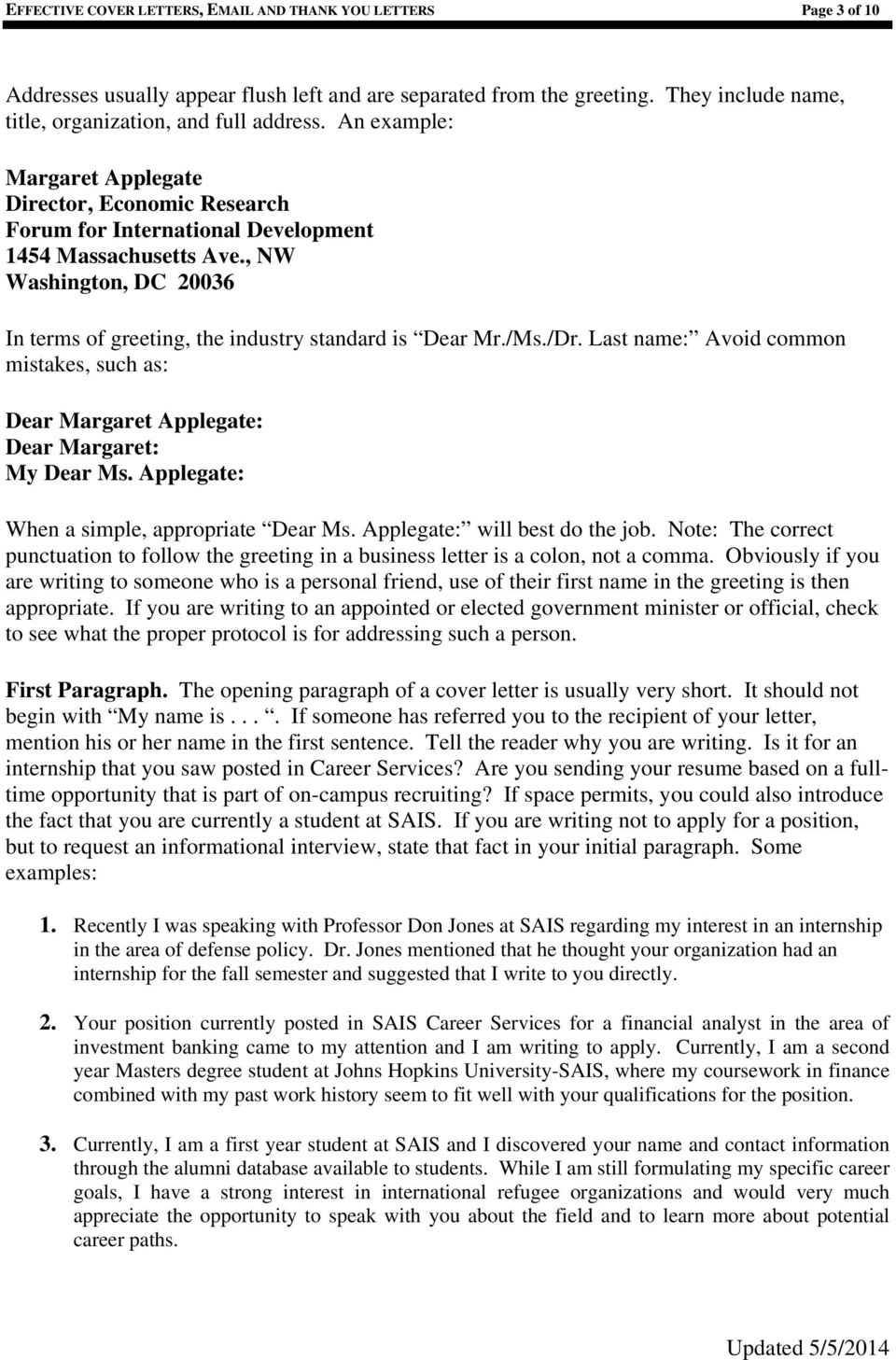 EFFECTIVE COVER LETTERS, - PDF