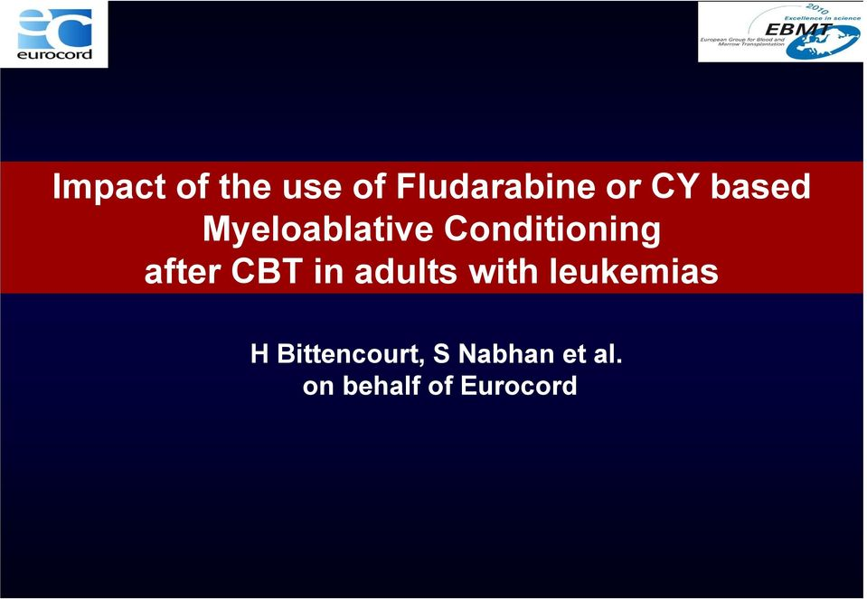 CBT in adults with leukemias H