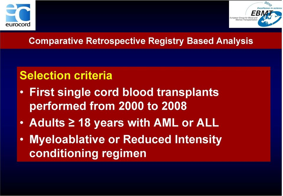 performed from 2000 to 2008 Adults 18 years with AML