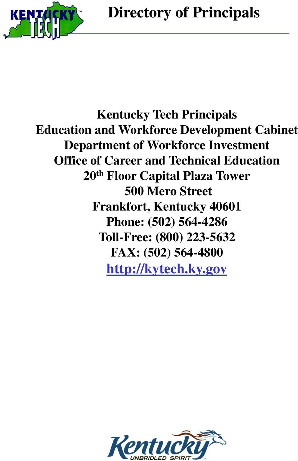 20 th Floor Capital Plaza Tower 500 Mero Street Frankfort, Kentucky 40601