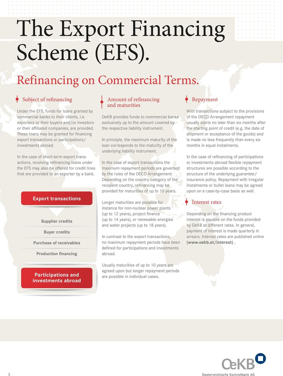 In the case of short-term export transactions, revolving refinancing loans under the EFS may also be offered for credit lines that are provided to an exporter by a bank.