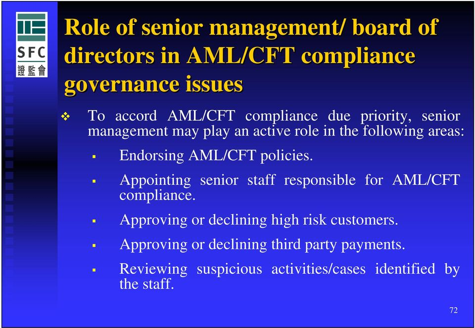 policies. Appointing senior staff responsible for AML/CFT compliance.