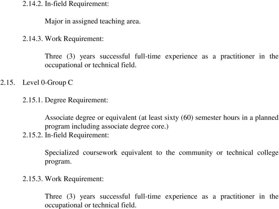 .1. Degree Requirement: Associate degree or equivalent (at least sixty (60) semester hours in a planned program including associate degree core.) 2.