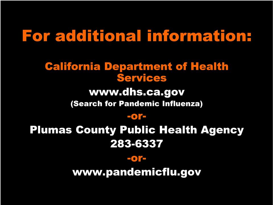 gov (Search for Pandemic Influenza) -or-