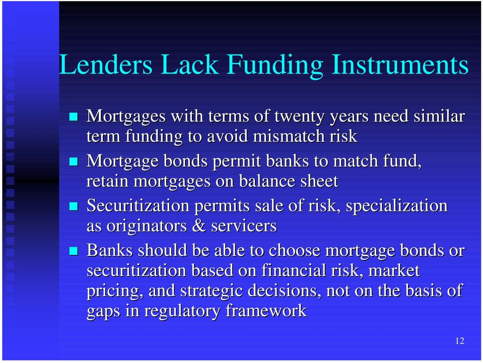 Mortgage bonds permit banks to match fund, retain mortgages on balance sheet!