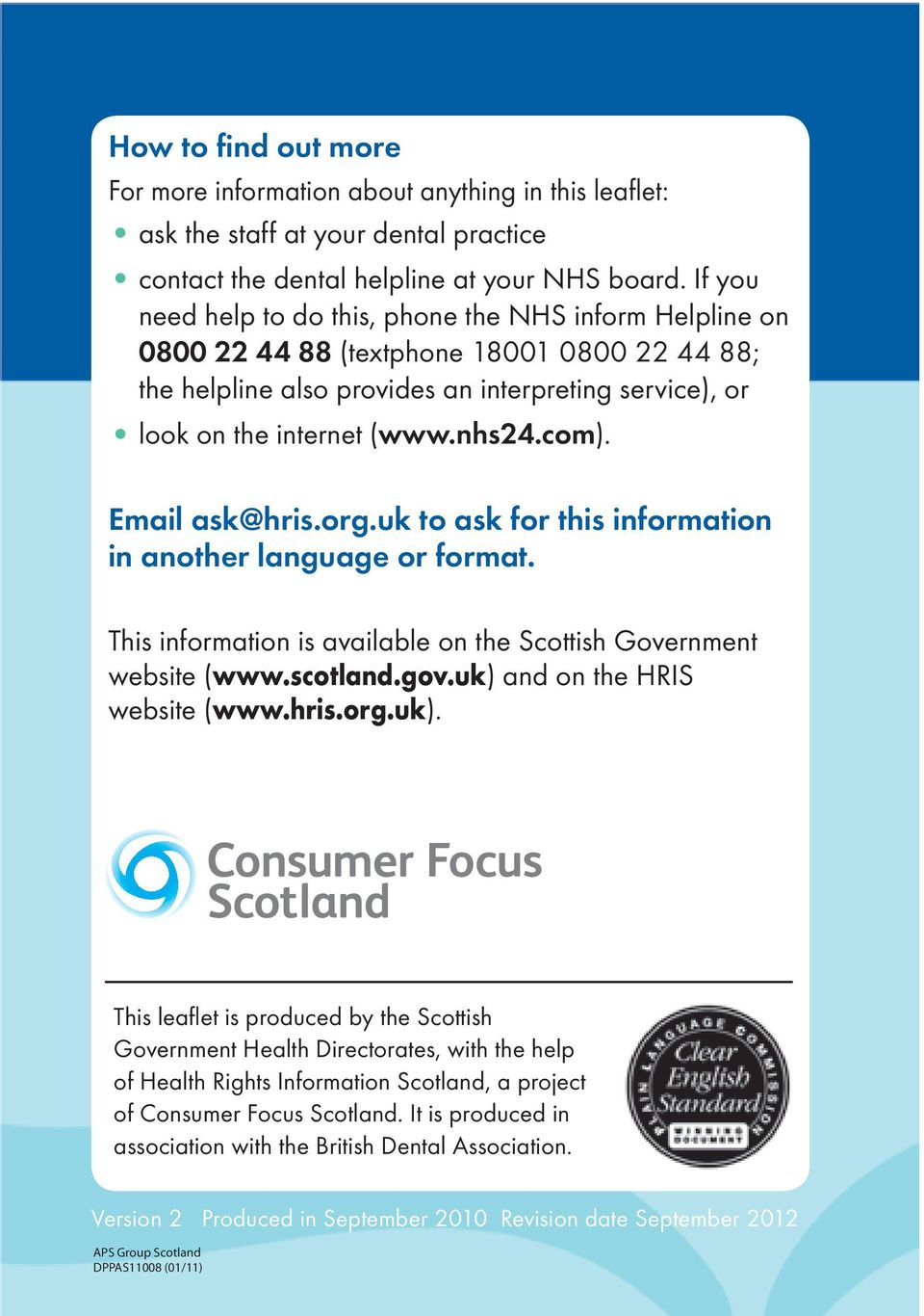 com). Email ask@hris.org.uk to ask for this information in another language or format. This information is available on the Scottish Government website (www.scotland.gov.