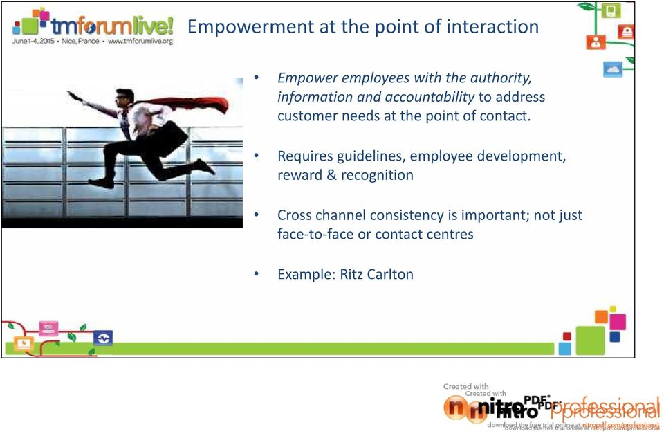 Requires guidelines, employee development, reward & recognition Cross channel