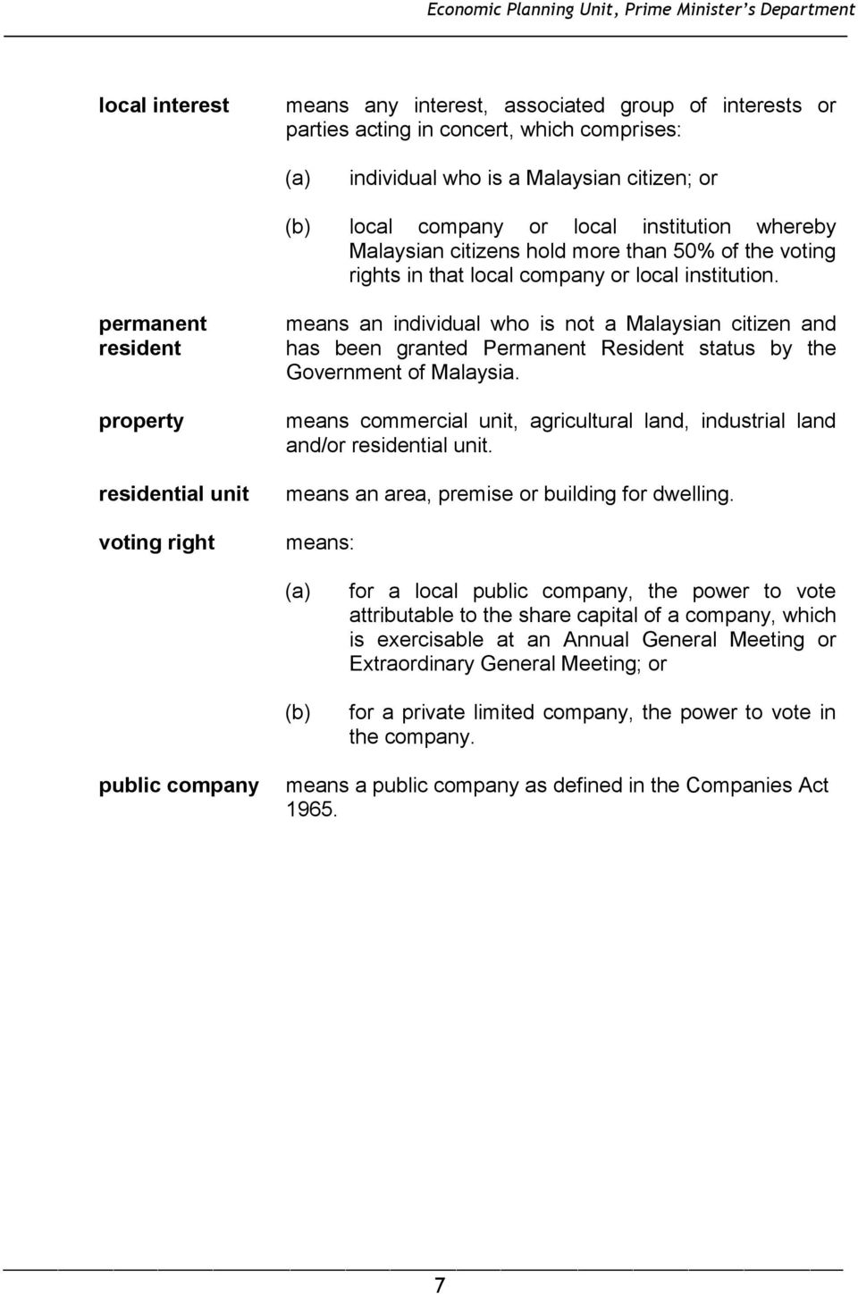 permanent resident property residential unit voting right means an individual who is not a Malaysian citizen and has been granted Permanent Resident status by the Government of Malaysia.