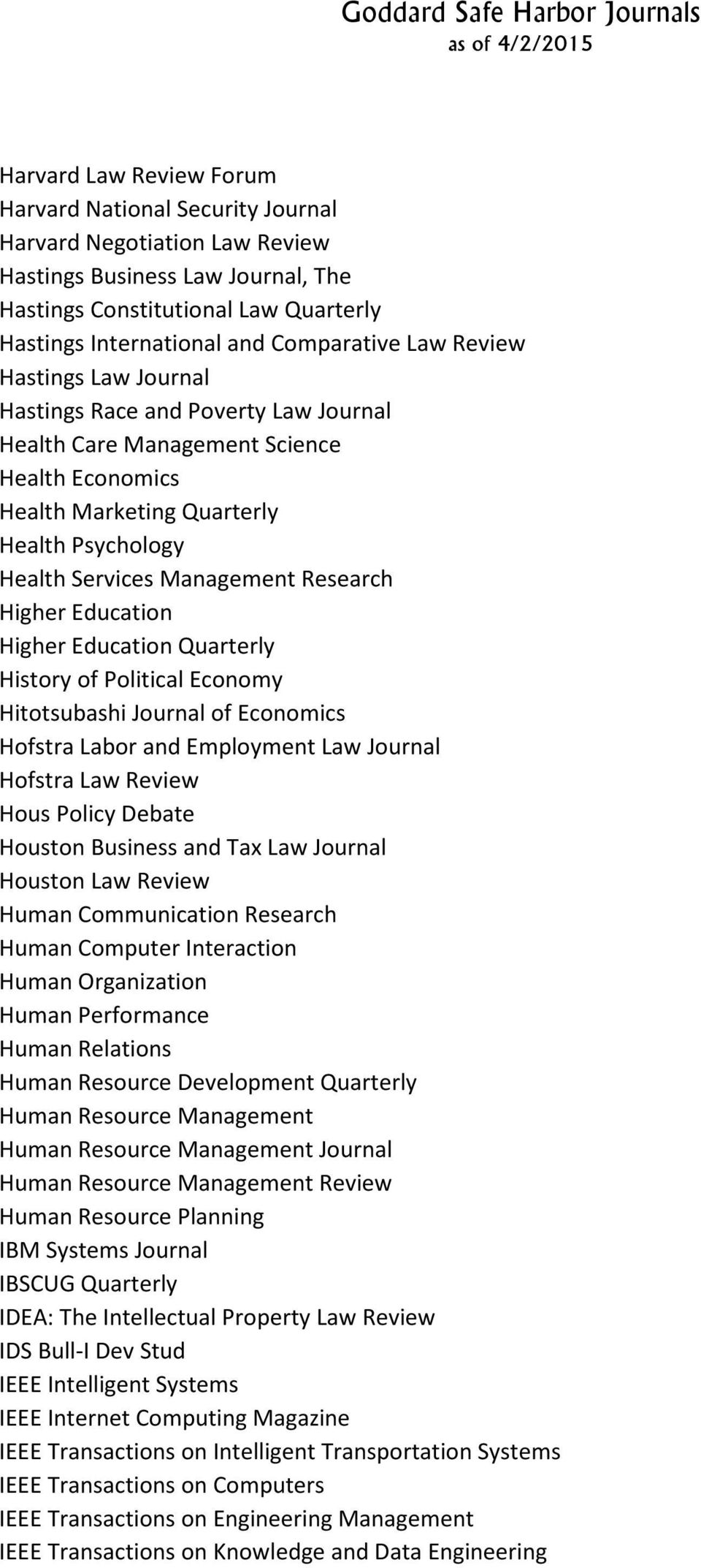 Management Research Higher Education Higher Education Quarterly History of Political Economy Hitotsubashi Journal of Economics Hofstra Labor and Employment Law Journal Hofstra Law Review Hous Policy