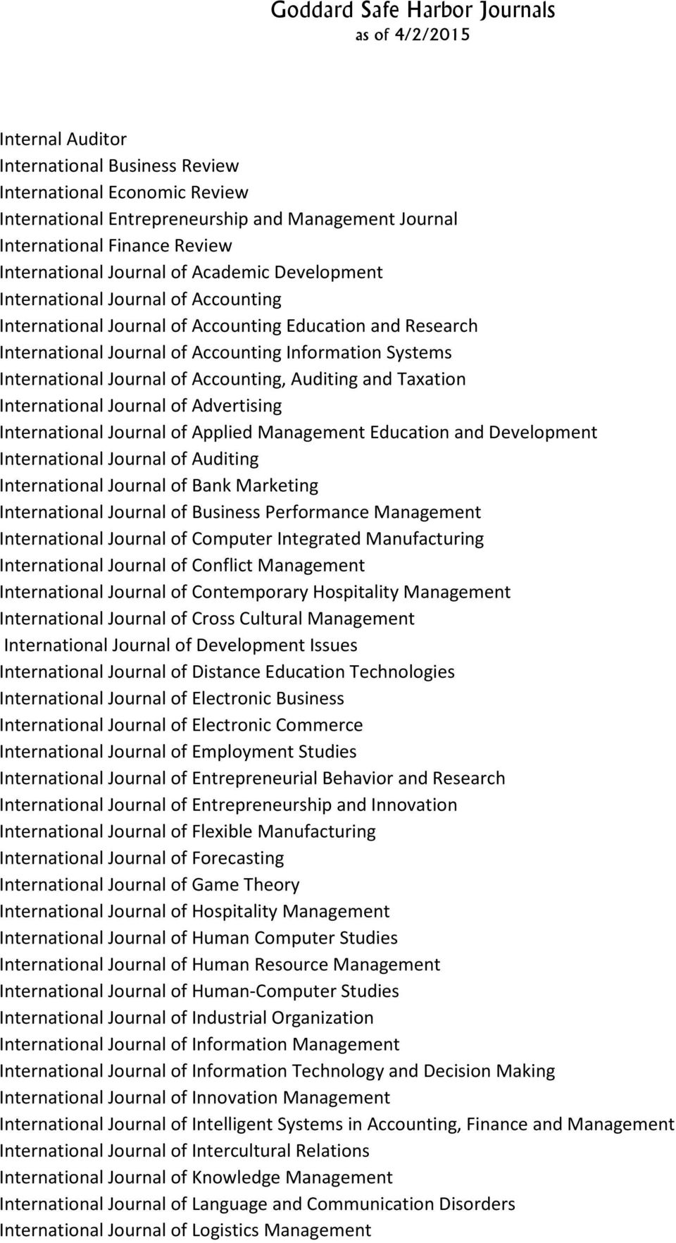 Auditing and Taxation International Journal of Advertising International Journal of Applied Management Education and Development International Journal of Auditing International Journal of Bank