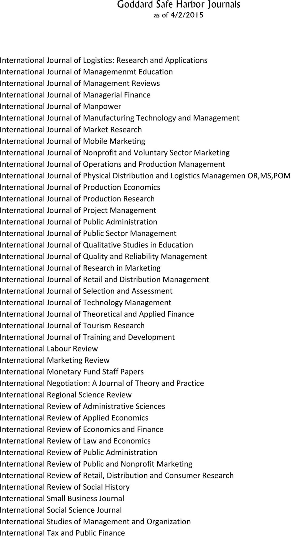 Journal of Nonprofit and Voluntary Sector Marketing International Journal of Operations and Production Management International Journal of Physical Distribution and Logistics Managemen OR,MS,POM