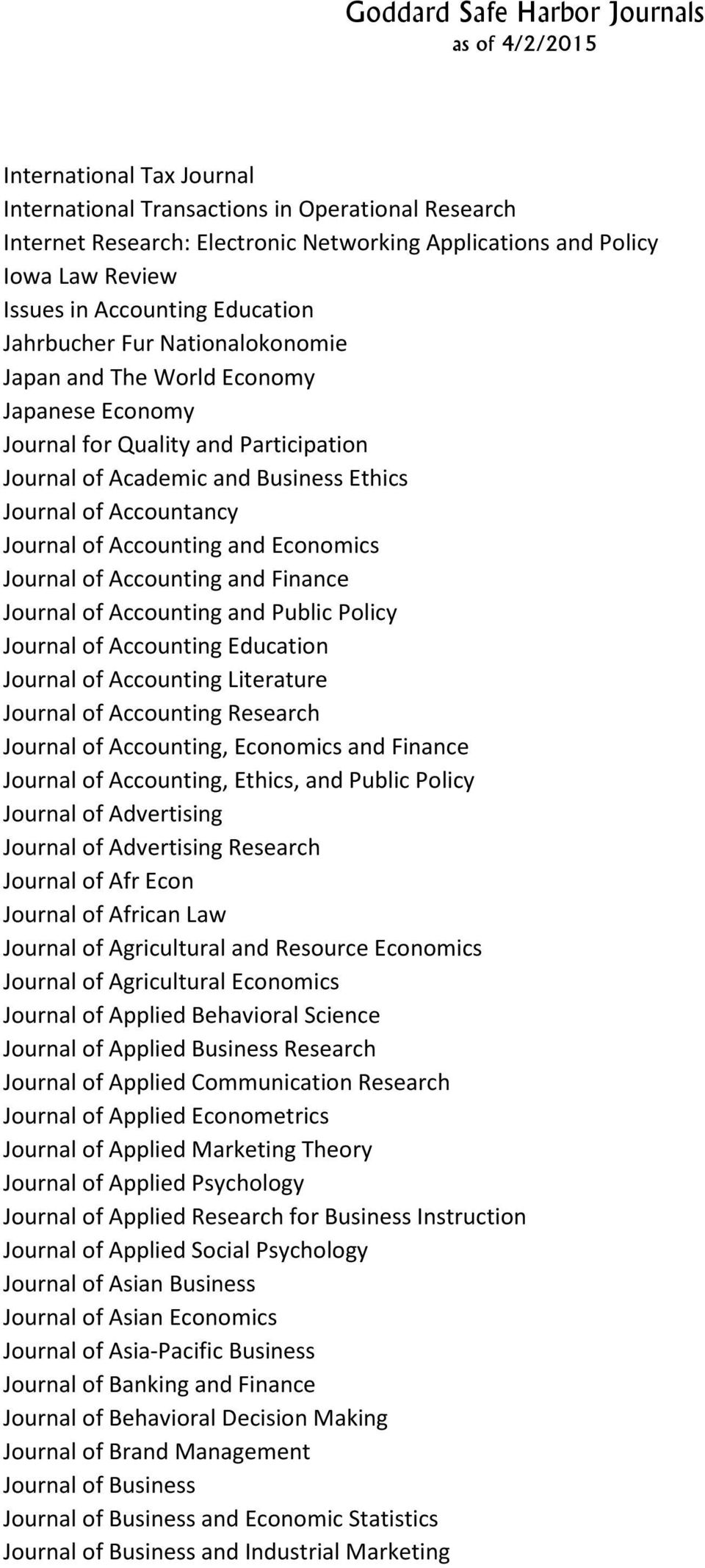 Economics Journal of Accounting and Finance Journal of Accounting and Public Policy Journal of Accounting Education Journal of Accounting Literature Journal of Accounting Research Journal of