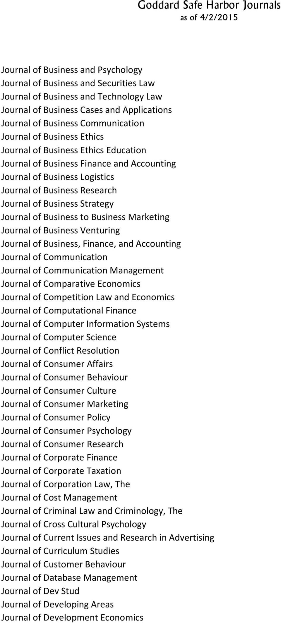 Business to Business Marketing Journal of Business Venturing Journal of Business, Finance, and Accounting Journal of Communication Journal of Communication Management Journal of Comparative Economics