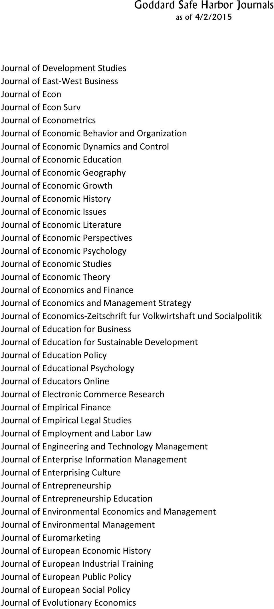 Economic Perspectives Journal of Economic Psychology Journal of Economic Studies Journal of Economic Theory Journal of Economics and Finance Journal of Economics and Management Strategy Journal of