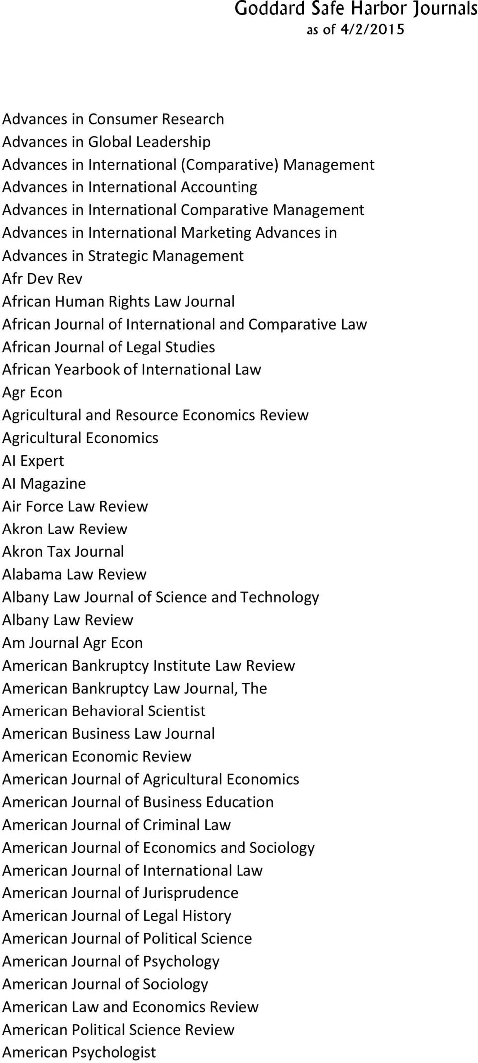 Legal Studies African Yearbook of International Law Agr Econ Agricultural and Resource Economics Review Agricultural Economics AI Expert AI Magazine Air Force Law Review Akron Law Review Akron Tax