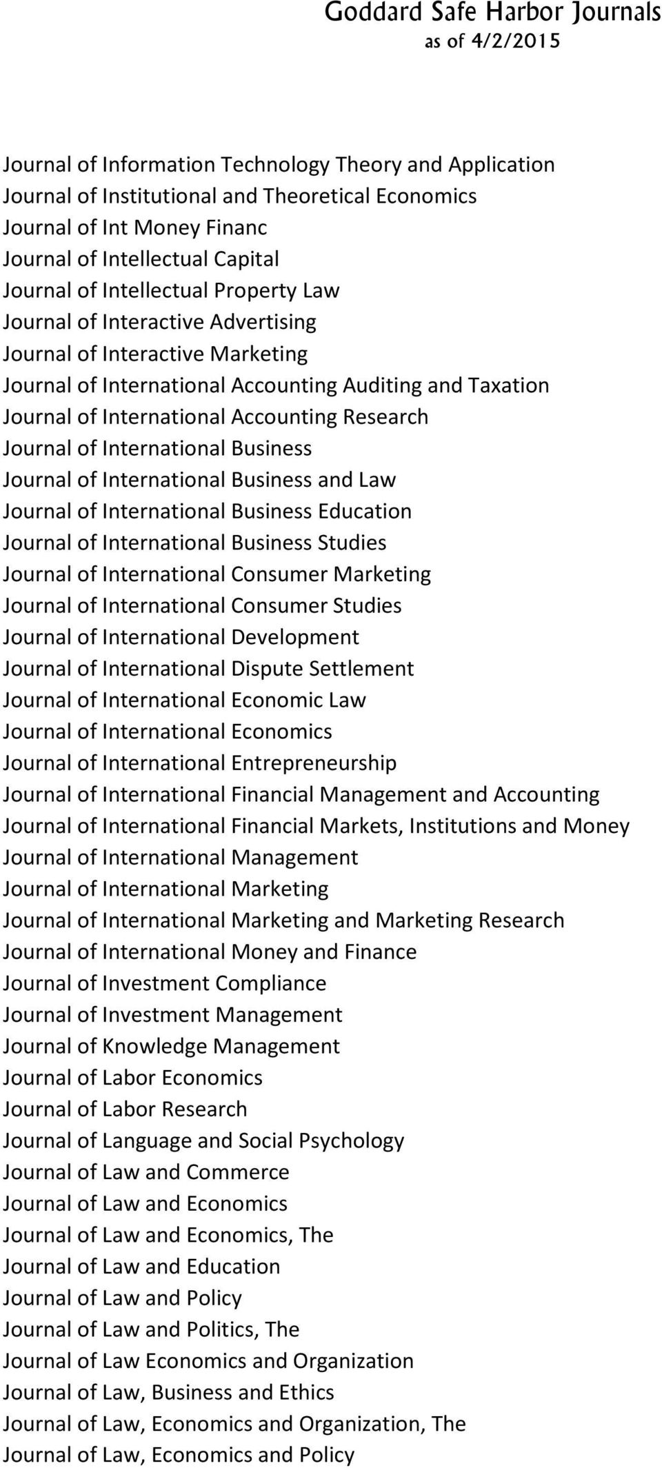 International Business Journal of International Business and Law Journal of International Business Education Journal of International Business Studies Journal of International Consumer Marketing
