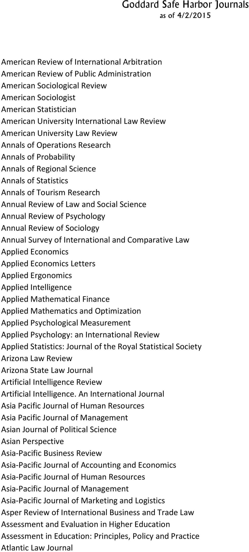 Science Annual Review of Psychology Annual Review of Sociology Annual Survey of International and Comparative Law Applied Economics Applied Economics Letters Applied Ergonomics Applied Intelligence
