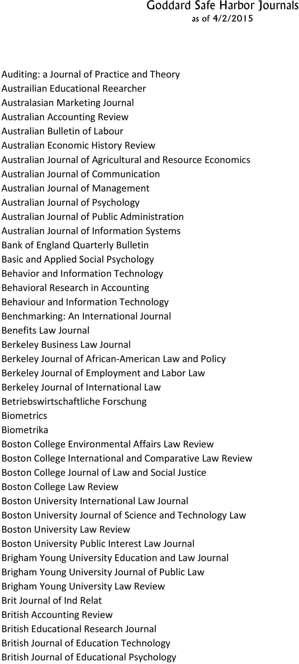 Administration Australian Journal of Information Systems Bank of England Quarterly Bulletin Basic and Applied Social Psychology Behavior and Information Technology Behavioral Research in Accounting