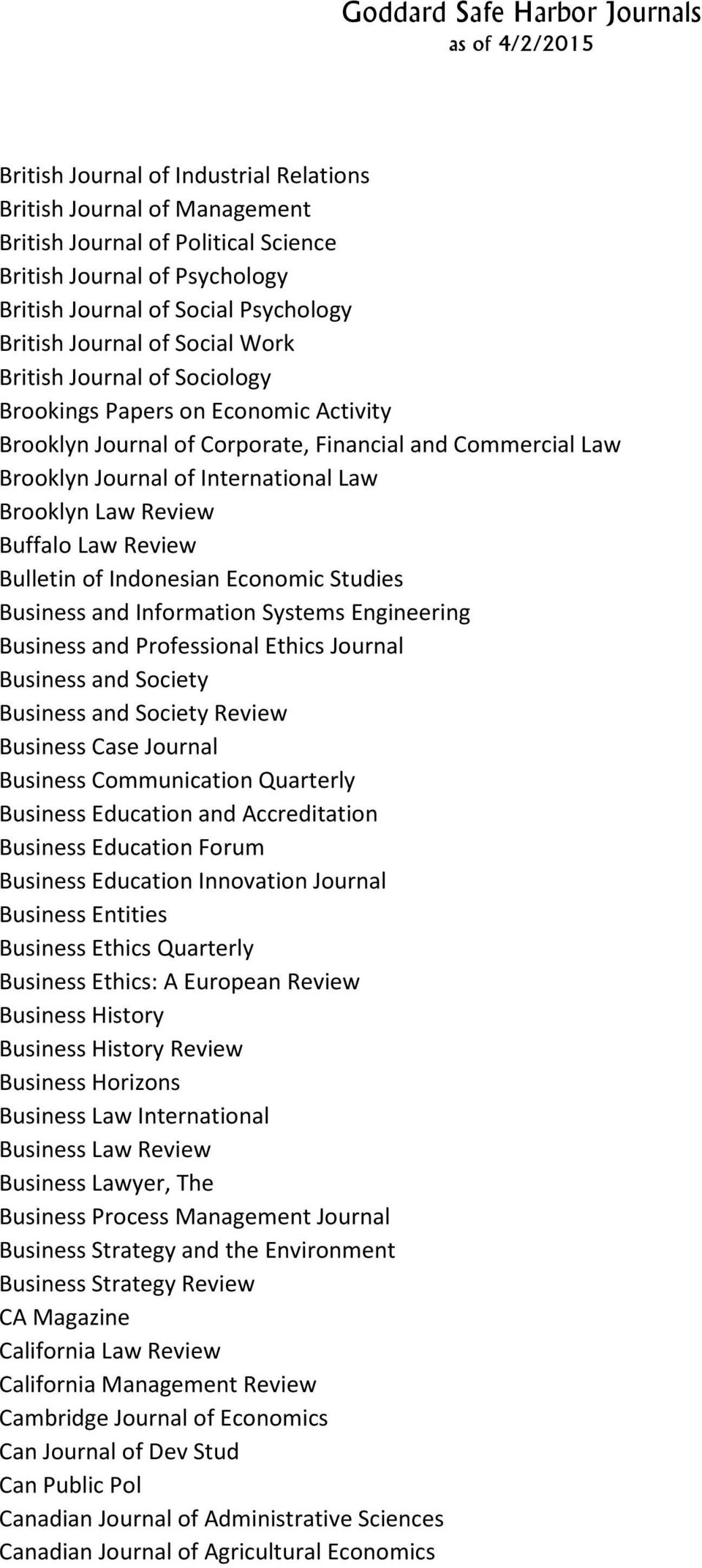 Law Review Bulletin of Indonesian Economic Studies Business and Information Systems Engineering Business and Professional Ethics Journal Business and Society Business and Society Review Business Case