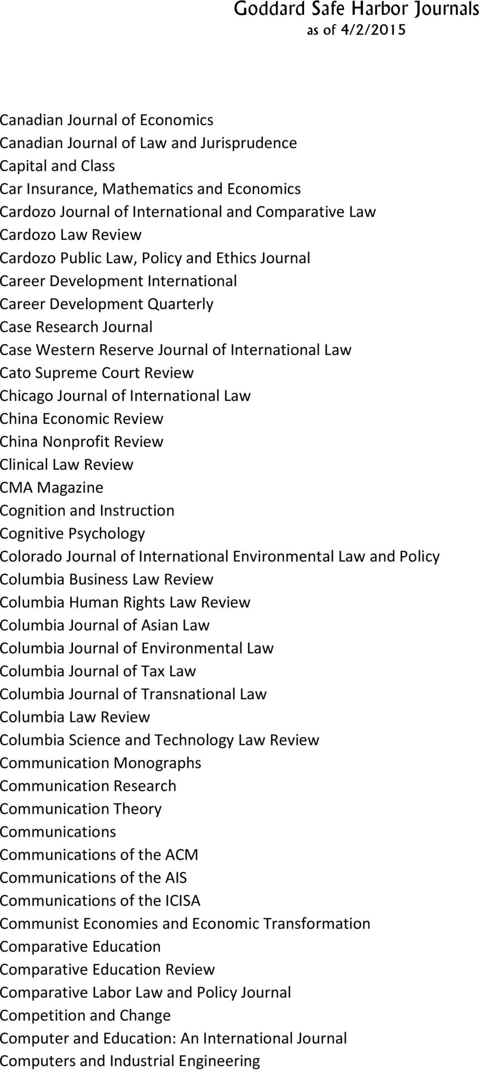 Court Review Chicago Journal of International Law China Economic Review China Nonprofit Review Clinical Law Review CMA Magazine Cognition and Instruction Cognitive Psychology Colorado Journal of