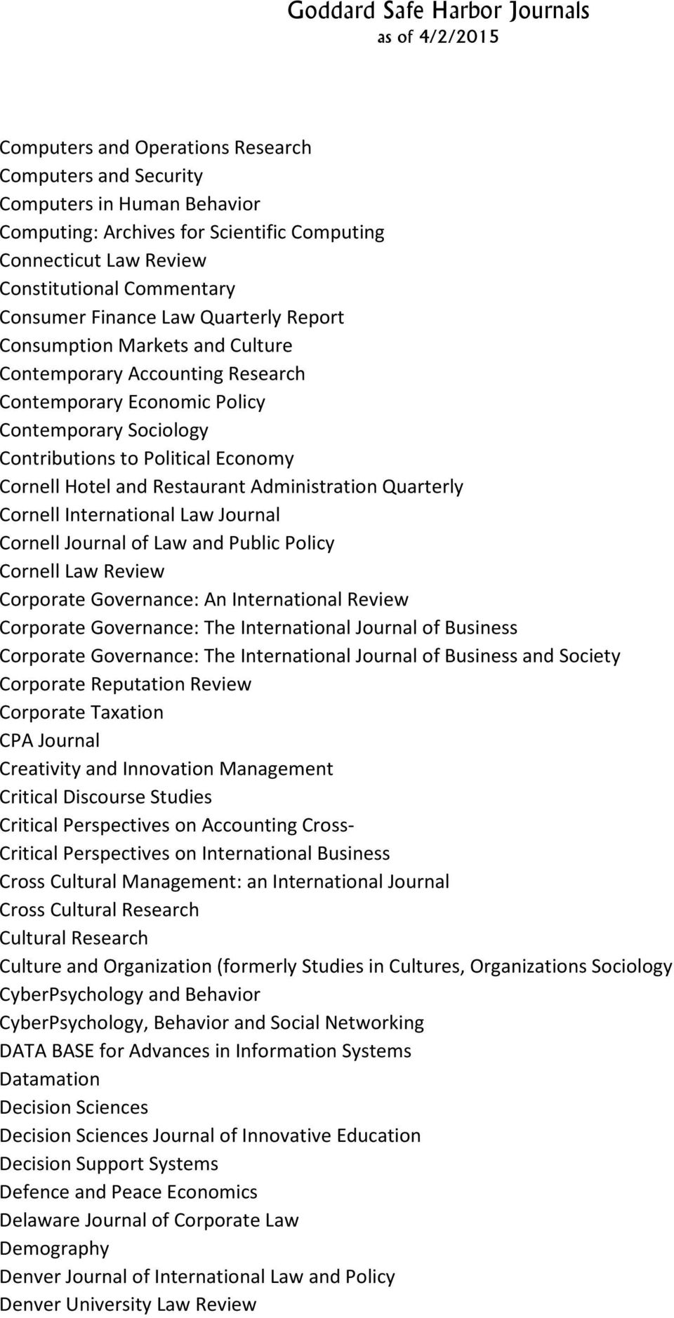 Administration Quarterly Cornell International Law Journal Cornell Journal of Law and Public Policy Cornell Law Review Corporate Governance: An International Review Corporate Governance: The