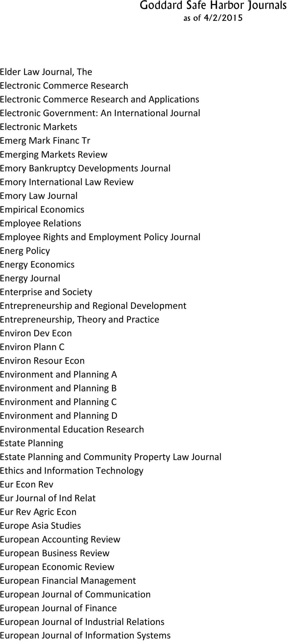 Energy Economics Energy Journal Enterprise and Society Entrepreneurship and Regional Development Entrepreneurship, Theory and Practice Environ Dev Econ Environ Plann C Environ Resour Econ Environment