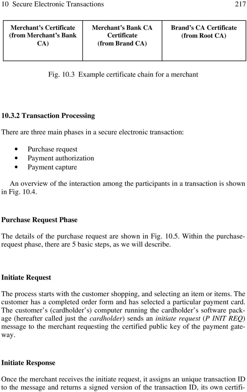 overview of the interaction among the participants in a transaction is shown in Fig. 10.4. Purchase Request Phase The details of the purchase request are shown in Fig. 10.5.