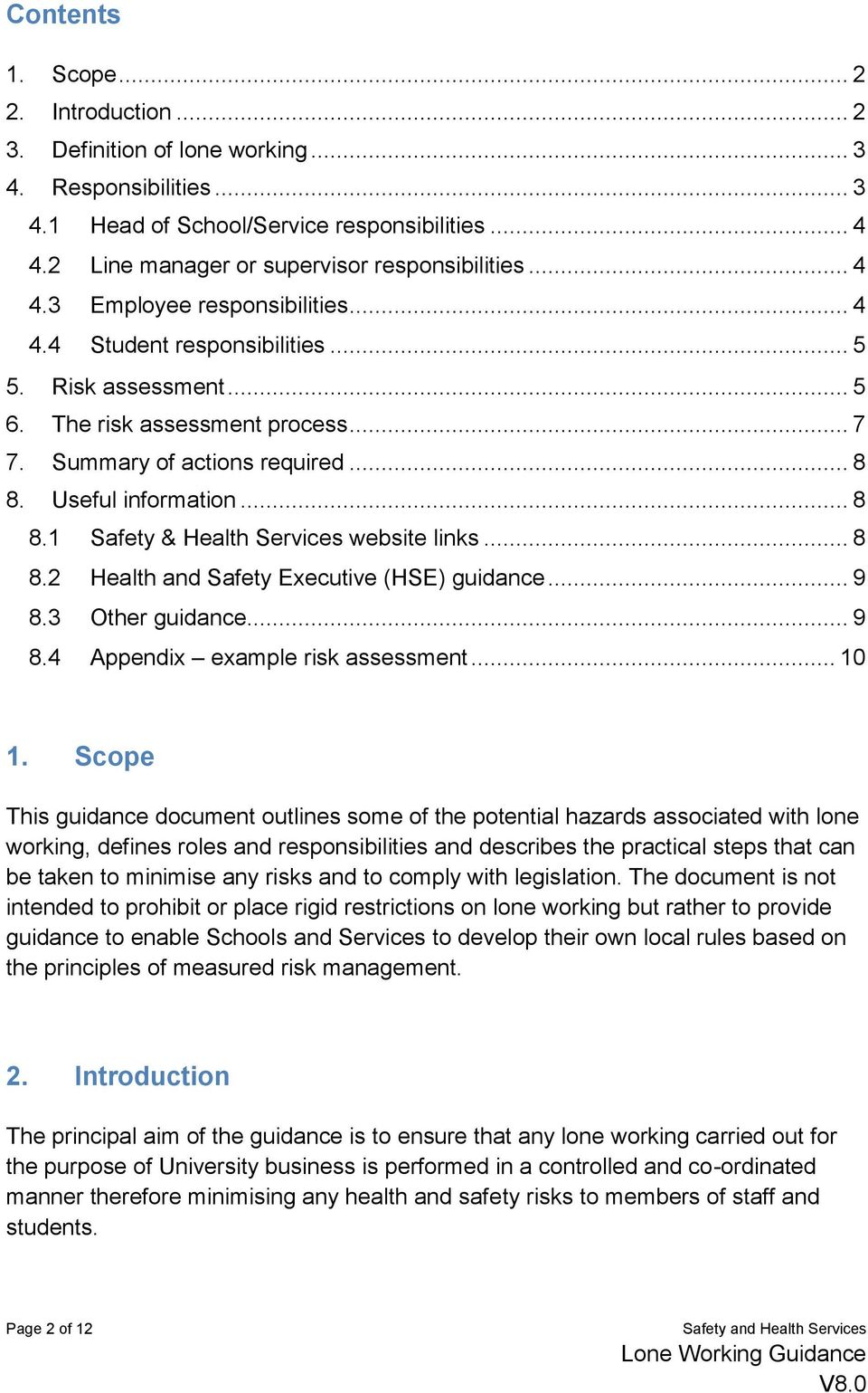 Summary of actions required... 8 8. Useful information... 8 8.1 Safety & Health Services website links... 8 8.2 Health and Safety Executive (HSE) guidance... 9 8.3 Other guidance... 9 8.4 Appendix example risk assessment.