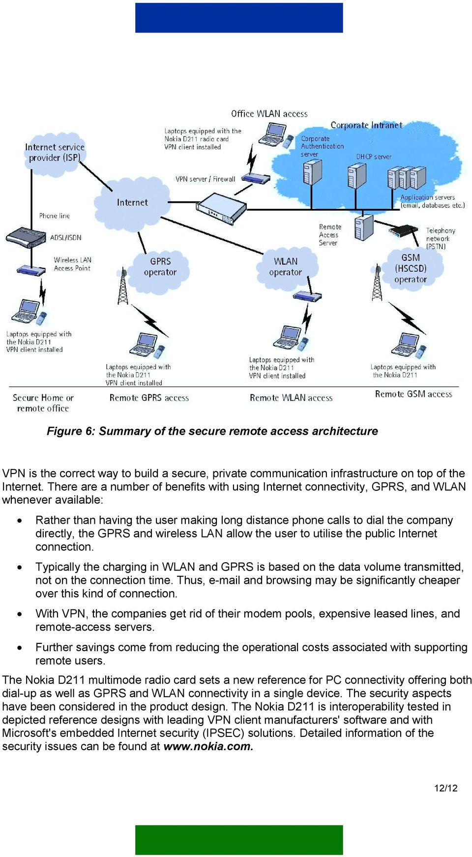and wireless LAN allow the user to utilise the public Internet connection. Typically the charging in WLAN and GPRS is based on the data volume transmitted, not on the connection time.