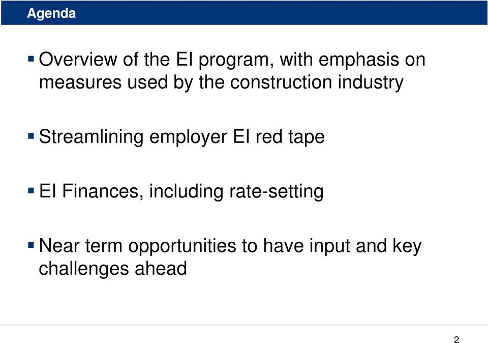 employer EI red tape EI Finances, including rate-setting