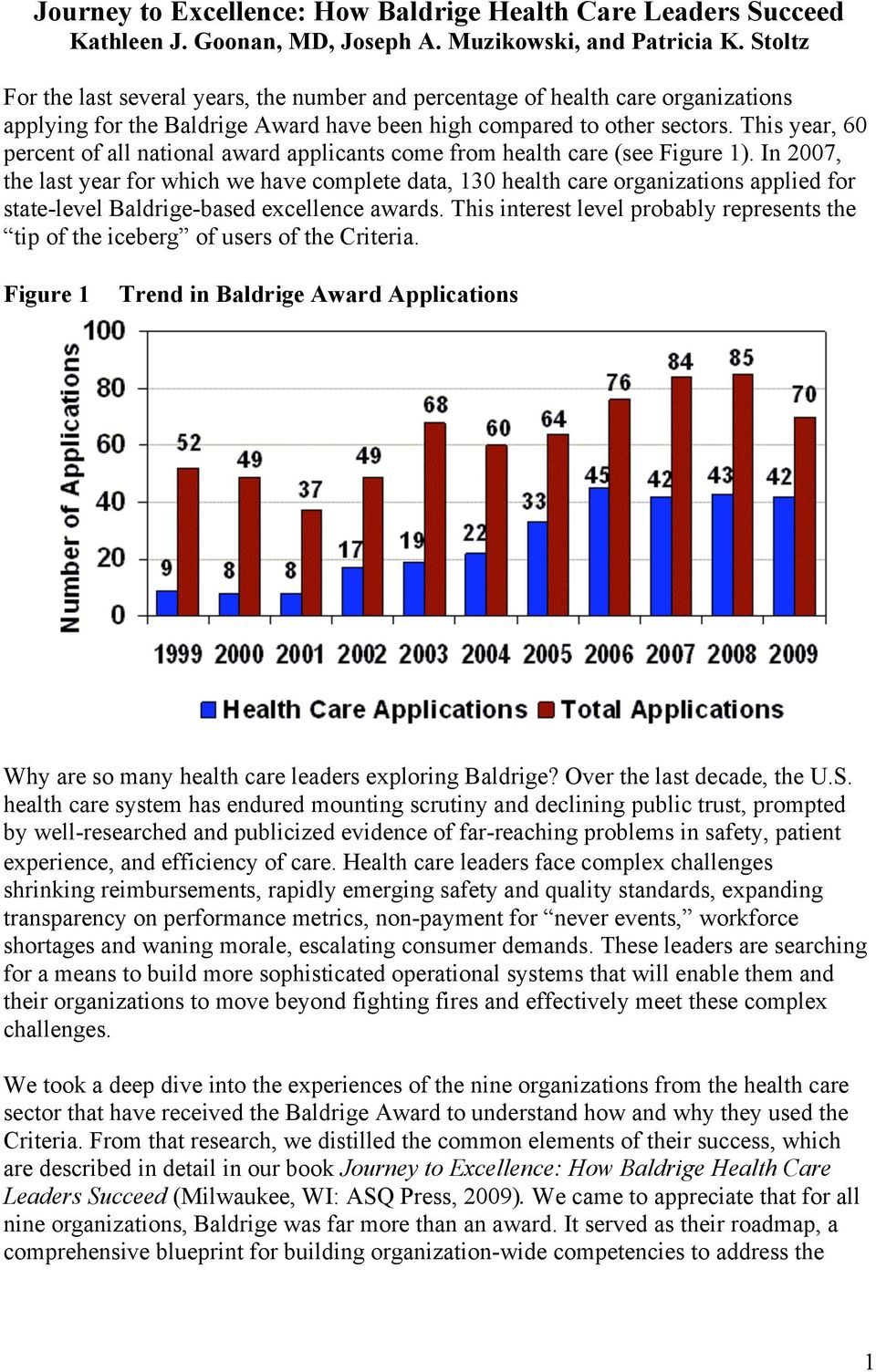 This year, 60 percent of all national award applicants come from health care (see Figure 1).