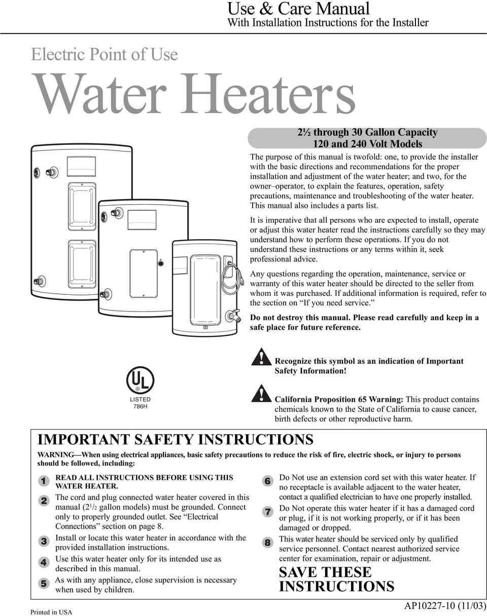 operation, safety precautions, maintenance and troubleshooting of the water heater. This manual also includes a parts list.