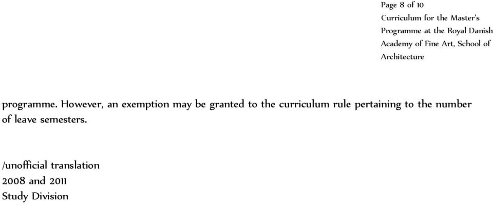 curriculum rule pertaining to the number of