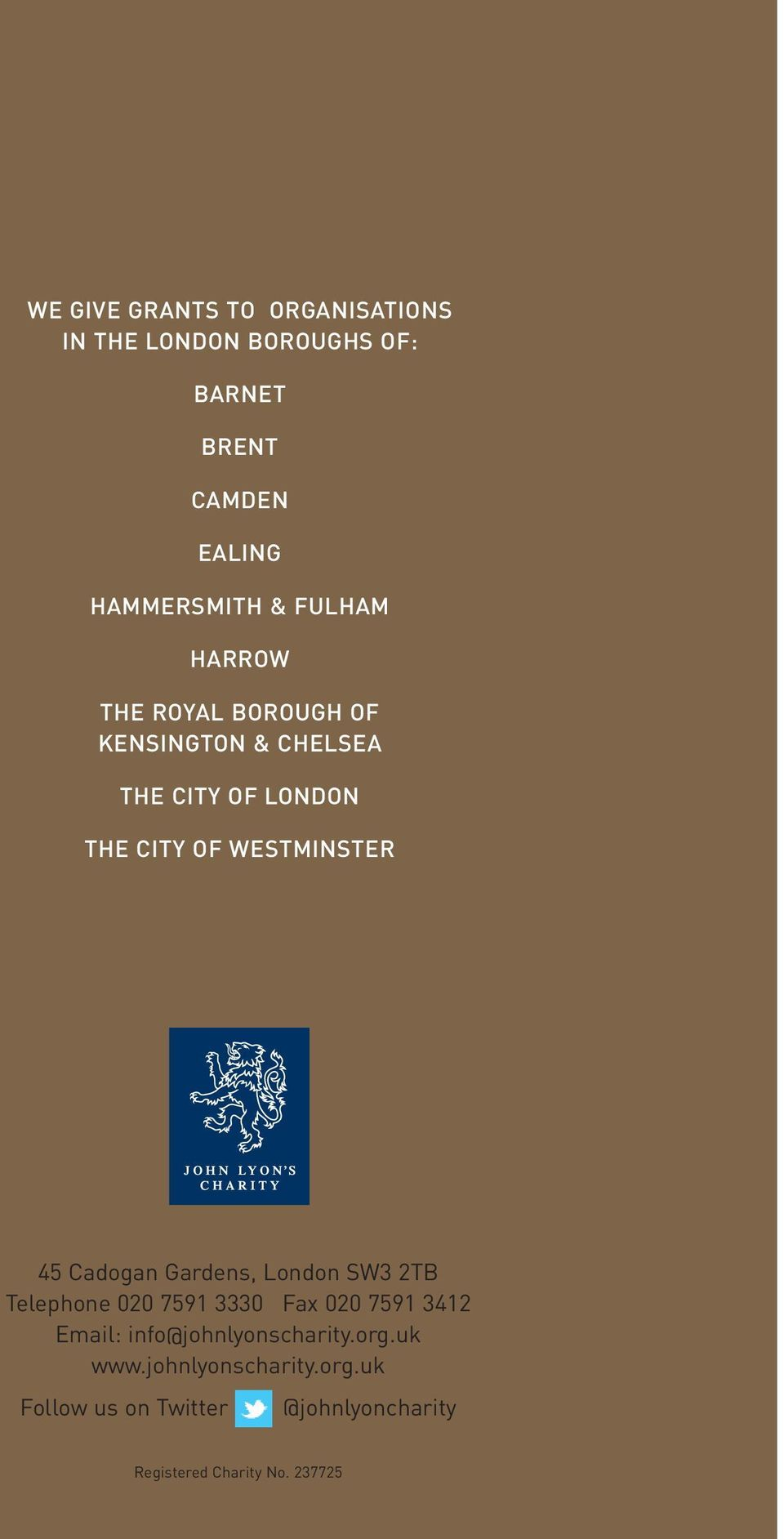 CITY OF WESTMINSTER 45 Cadogan Gardens, London SW3 2TB Telephone 020 7591 3330 Fax 020 7591
