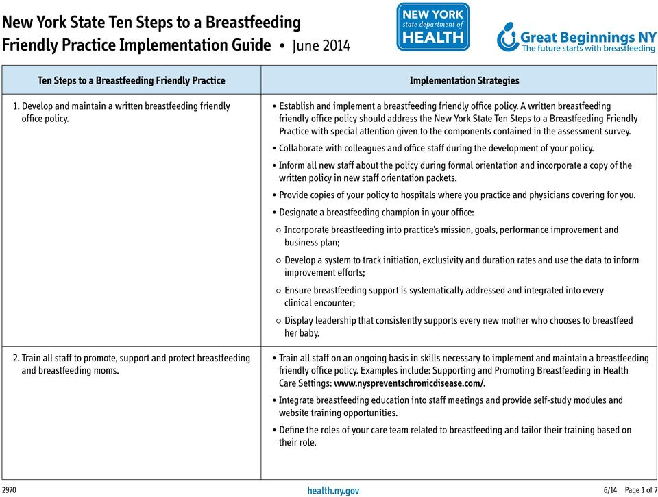 A written breastfeeding friendly office policy should address the New York State Ten Steps to a Breastfeeding Friendly Practice with special attention given to the components contained in the