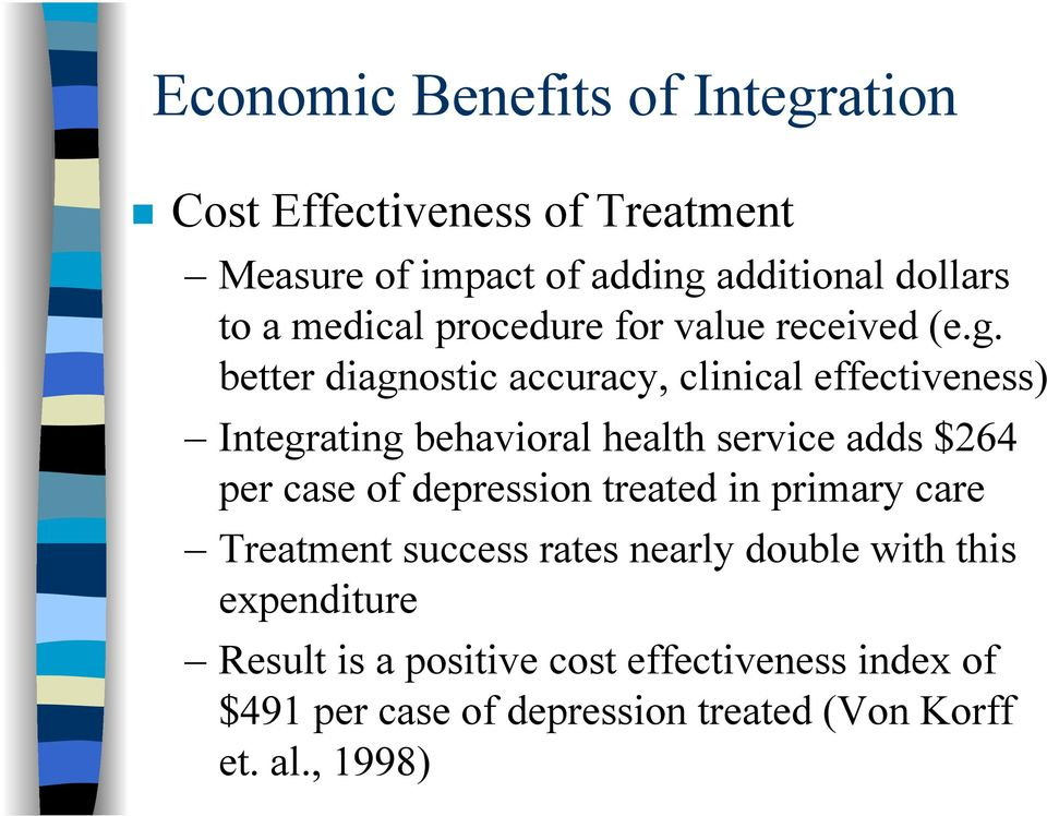 better diagnostic accuracy, clinical effectiveness) Integrating behavioral health service adds $264 per case of