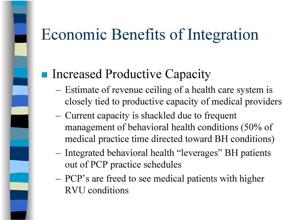 behavioral health conditions (50% of medical practice time directed toward BH conditions) Integrated behavioral