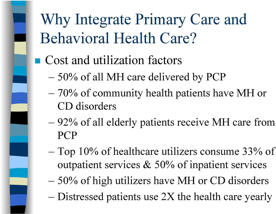 MH or CD disorders 92% of all elderly patients receive MH care from PCP Top 10% of healthcare utilizers