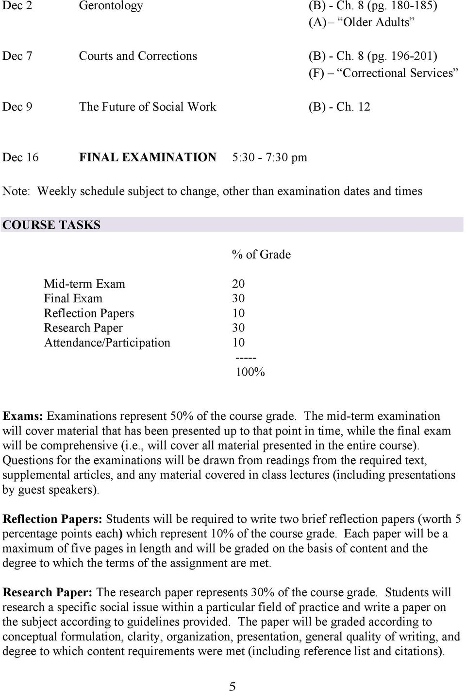 Research Paper 30 Attendance/Participation 10 ----- 100% Exams: Examinations represent 50% of the course grade.