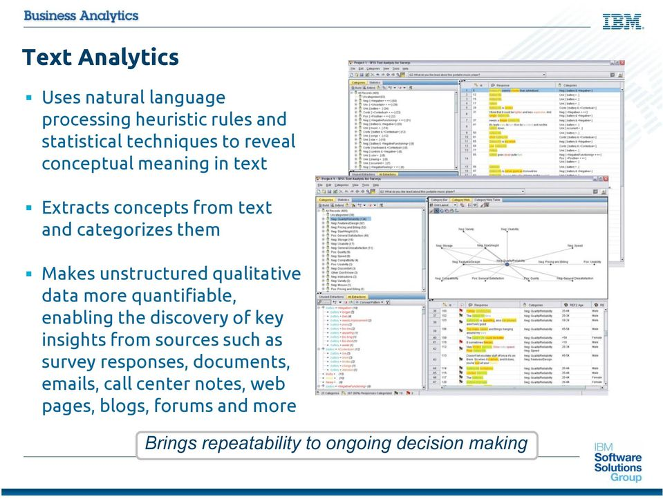 data more quantifiable, enabling the discovery of key insights from sources such as survey responses,