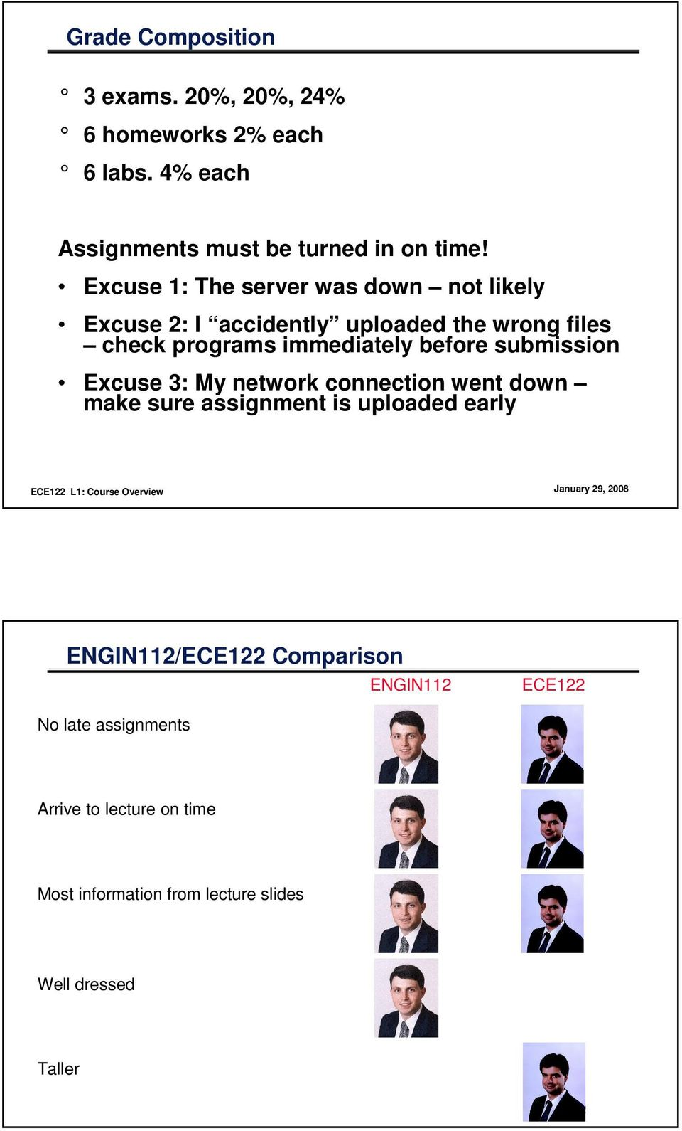 before submission Excuse 3: My network connection went down make sure assignment is uploaded early ENGIN112/ECE122